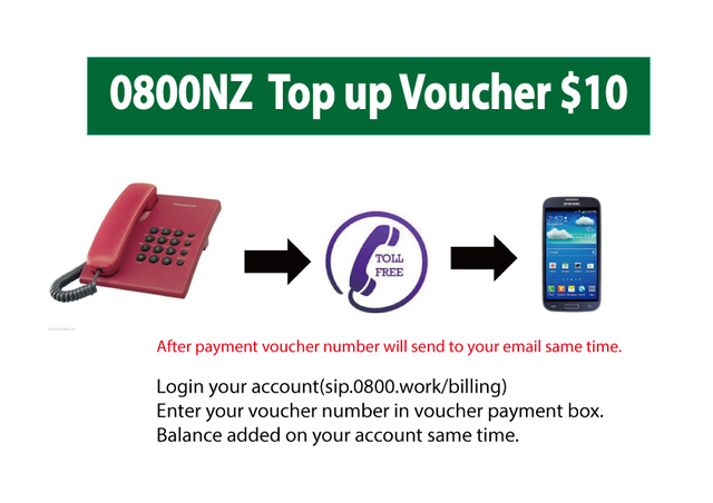 0800 $10 top up Voucher