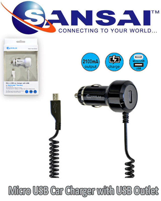 SANSAI micro USB Car Charger with USB Outlet Compatible For All microUSB Use
